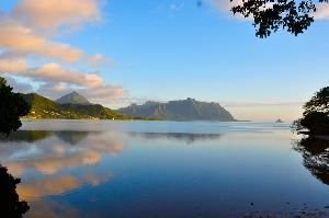 Paradise Bay Resort, Kaneohe — View from Paradise Bay Resort-Kaneohe Bay, Kualoa, Chinaman's Hat Island & Ocean