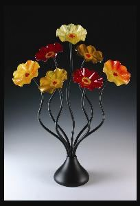 "My Glass Flowers, Cave Creek — 7 Glass Flowers in warm colors 26"" Tall"
