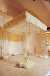 CCP Events Inc, Atlanta — This beautiful wedding ceremony Chuppah brought the bride to tears with the thousands of white flower blooms.
