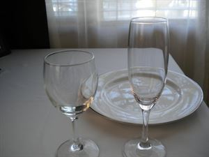 China, Flatware & Stemware Rentals as low as $.50 ea, T. Rena Weddings/ Events Inc. ----Event Rentals, Jamaica — Dinner Plate, All Purpose Goblet & Flute