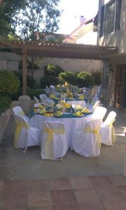 Flat Rate Rental Package (for 150 guests or less), Events TaylorMade Rentals, Westminster — Teal & White with Yellow