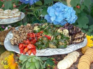 Gourmet a go go, La Crescenta — Sample buffet with a platter of grilled vegetables