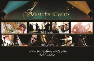 Music for Events, Beverly Hills — Music For Events is a unique, boutique-style agency that works with you every step of the way to ensure that your event fits your vision. We specialize in providing excellent musicians of every genre, as well as other services such as event planning, photography, floral, and much more. Owned and operated by experienced musician Carolyn Sykes with over 30 years in the event industry, we make the process of choosing your music and planning your event easy so you can focus on what matters most - your occasion.