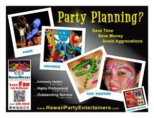 ColorWhims - Hawaii Party Entertainers, Honolulu — Hire face painter, balloon twister, glitter tattoo artists, entertainers for Hawaii, Oahu, Honolulu birthday parties and special events.