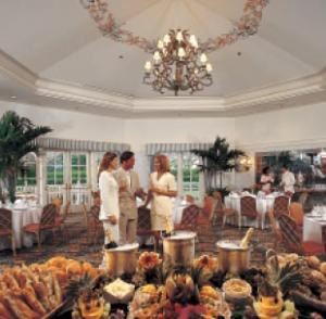 Whitehall, Disney's Grand Floridian Resort & Spa, Orlando — When it comes time to make a statement, the octagon-shaped Whitehall sets the stage for intimate events of up to 150. An elegant crystal chandelier centers the room, which leads to a scenic outdoor terrace.