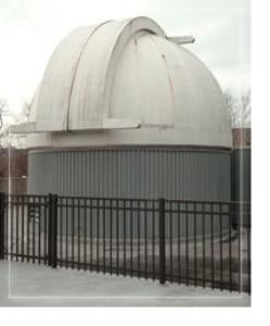 Ralph Mueller Observatory, Cleveland Museum of Natural History, Cleveland — A 19-foot-diameter dome built by Astro-Dome of Canton, Ohio, houses the telescope. The dome is motor-driven and can be rotated 360 degrees. It has a double shutter, which permits greater sky exposure.