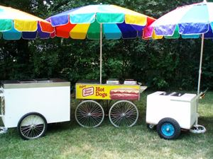 Hot Dog Cart & Ice Cream Cart Party Package, A Popcorn Lady Production, Atlanta — Hot Dog & Ice Cream Carts