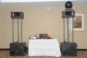 "Top Thibodaux DJ, Thibodaux — Top Thibodaux DJ uses a compact, but EXTREMELY powerful, custom-built DJ system worth $10,000.  This system is very mobile and is incomparable to any in the state.  The speakers and horn drivers are made in Germany -- there are simply NONE better!  This system provides the smoothest sound imaginable, never ""squawky.""  (See photo below)