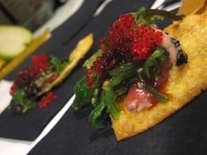 The Epicure's Palate, Eclectic Quality Catering, Pittsburgh — Seared Yellow Fin Tuna on Wonton Crisp with Wakame and Masago