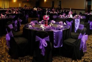 Simple Package, Jessica's Platinum Weddings  & Events, Alfred — Purple & diamond wedding tables