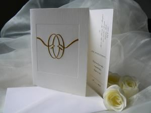 Classic Stationers, Victoria — Wedding invitation with detach reply post card,rings are foil stamped in gold; choice from over a 100 designs for the cover page.