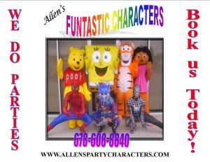 "Allen's Funtastic Party Characters, Winder — We provide the best in children's entertainment with our look-a-like Cartoon  Characters, Princesses, and SuperHeros. Our fun filled services include; Character entertainment, facepainting, kiddie tattoos, balloon art, and a lot of FUN. Book us for Parties, Grand Openings, School events, Church events, Parades and picnics. Our motto is ""WE DELIVER FUN."