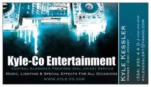 "Kyle-Co Entertainment, Wetumpka — Kyle-Co Entertainment is ""Central Alabama's Premiere Disc Jockey Service.""  We provide music, lighting, special effects, and Emcee Services for all occasions.  We have been serving the Southeastern United States since 1990.  With over 50 years of combined musical entertainment experience you can rest assured we have the skills and expertise to make your event one to remember."