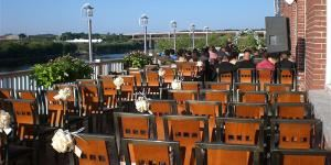 Salvatore's Function Facility, Lawrence — Wedding ceremony on our spacious deck overlooking the Merrimack River