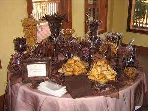 Simply Sweet Candy Buffets and Dessert Bars, Yukon — Chocolate Heaven... This table is one of my favorites, its loaded with chocolate licorice vines, Baklava, assorted chocolates, wafer cookies, amaretto biscotti, caramel popcorn, chocolate covered raisins,and chocolate covered assorted nutes, this table will delight and bring a smile to anyones face.