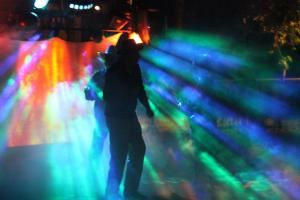 BeDazzled Entertainment - Disc Jockeys, Dallas — Outdoor lightshow for a Halloween party with fog, dancefloor lighting and a 10 foot video screen.