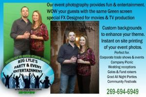Big Lyle's party & event entertainment - Pittsburgh - Kalamazoo, Kalamazoo — Green screen digital photography is a unique way to market and Brand your company and products. With digital photography we can custom create backgrounds to enhance your theme, instantly print picture off at the event providing the event souvenir.Custom photos with your brand logo create a long term marketing impact.