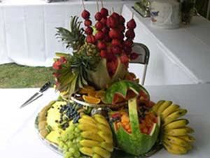 European Brunch, The Freelance Chef, Westland — Fruit Displays as center peices