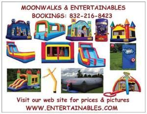 MOONWALKS & ENTERTAINABLES Ft. Bend County, TX Moonwalk Rentals, Sugar Land — FREE moonwalk delivery to most of Ft. Bend County, TX. Sugar Land, Missouri City, Stafford, Fresno, Rosenberg and Richmond. FREE bubble machine with every rental! We have moonwalks, Air Dancers, combos, inflatable sports games, Pitchburst, water slides, slip-n-slides, themed inflatables, and fun party games!  Visit our web site for prices and pictures. WWW.ENTERTAINABLES.COM Bookings: 832-216-8423