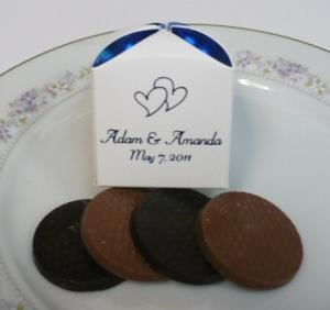 sweet ashleys chocolate, Royersford — This beautiful favor is filled with two smooth and buttery milk chocolate caramel patties, and two dark chocolate peppermint patties.