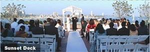 Sunset Deck, The Reef On The Water, Long Beach — The Sunset Deck is located on the rooftop and can accommodate up to 300 guests for a ceremony. This beautiful ceremony location features a panoramic view of the Queen Mary, the harbor and the downtown skyline.