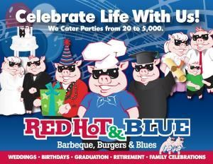 Red Hot & Blue - Raleigh, Raleigh — Red Hot and Blue Catering serving the Washington DC area since 1988. Authentic Hickory-smoked Memphis-style Barbeque, Ribs, Chicken, Beef Brisket, Seafood, Wraps, Salads and Sandwiches.