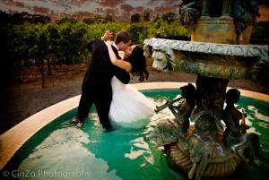 Bartone Photography, Santa Rosa — Photograph of Michael and Catherine in the wine country - 'After the Wedding'. Yes, she really got into the fountain!