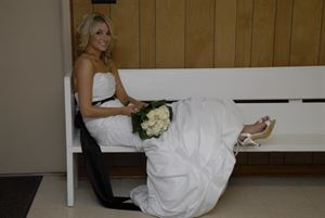 Digital Negatives Wedding , Berry's Wedding Photography, Columbus — Bride Relaxing at Reception (Warner Robins)