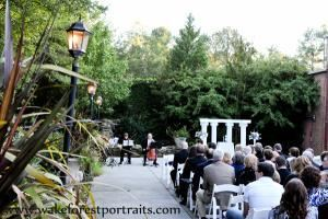 Wedding Ceremonies, The Garden on Millbrook, Raleigh — Our patio is 4,000 square feet and features a pond with waterfall, gazebo and lots of twinkle lights. It's perfect