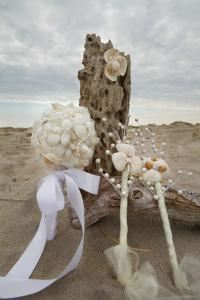 Endless Summer Design, Casco — Bridal bouquet, bridesmaid wands and boutineer.  Beautiful items for your beach/ocean inspired wedding.