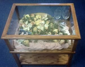 Memories Preserved - Custom Freeze-Dried Florals, Appleton — Sealed enclosing of your bouquet not only gives you a great presentation but helps protect your blooms from the deteriorating effects of humidity. Enclosures vary from ornaments, small glass boxes, domes, custom made shadowboxes or cases (rectangular, hexagonal, octagonal, diamond), picture frames, keepsake boxes,tables etc.  Each piece is unique whether it displays your flowers alone or with other memorabilia.