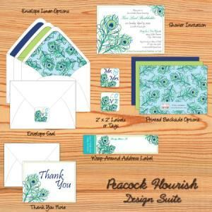 Kari Lind Creations, Overland Park — Peacock Flourish bridal shower set... can also be used as a wedding invitation suite!