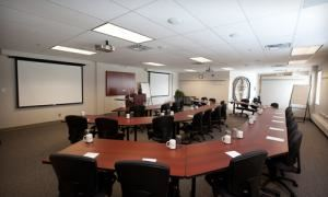 Genesis Group, Yellowknife — The Genesis Room lecture hall setup for up to 36 people
