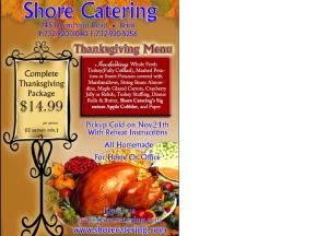 Thanksgiving Dinner Package, Shore Catering Inc., Brick — Thanksgiving Menu