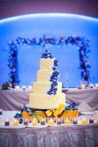 Wedding Coordinator, Details by Danielle, Bronx — Spring wedding cake- Purple and Yellow