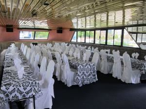 Entire Facility, Yankee Lady Yacht Charters, Toronto — this is the forward end of the main deck/dining room...this shot is from a bat mitzvah.  Chair covers available in many different options.