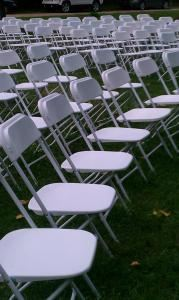 The Table Guys Event & Party Rentals, Wichita — Our white folding chairs are only $1 each and perfect for a wedding ceremony or reception!