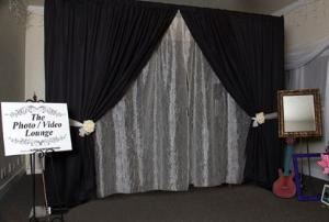 Deluxe Package, The Photo Video Lounge by Alpha Video Services, Spokane — This booth shows expansion to 10 feet for large groups. This is an example of a partial Wedding-Elegant decor.