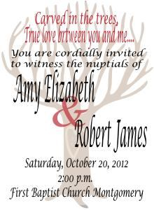 Wedding Stationery Package, Debra Nail Designs, Sheridan — Carved in the Trees Sample Invitation