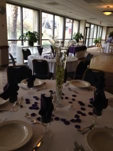 "Station Buffet Wedding Package, Diamond Club at Temple University, Philadelphia — An example of a table set up for our first level package- the ""Traditional"", glass vase is included, flowers and rose petals are not."
