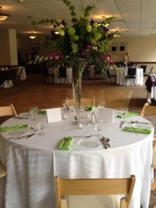 Brunch Buffet Wedding Menu, Diamond Club at Temple University, Philadelphia — Model table including upgraded linen and chair options