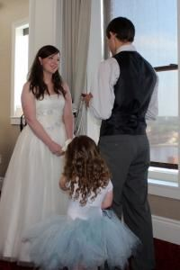 Cathy Bolkcom, Wedding Officiant, Davenport — A gorgeous evening wedding for Michael and Hailey at the Hotel Blackhawk on the 11th Floor overlooking the Mississippi River in Davenport.