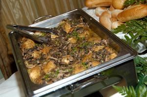 The Formal Inclusive Wedding Menu Package, Affordable Catering, Tampa — Our stuffed Chicken Marsala is a delectable twist on the classic, stuffed with Sauteed Mushrooms and finished with a rich Marsala Wine and Mozzarella Cheese.