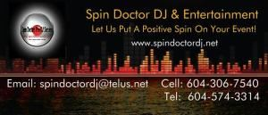 Video DJ Packages, Spin Doctor DJ & Entertainment Service, Surrey — Logo & Card
