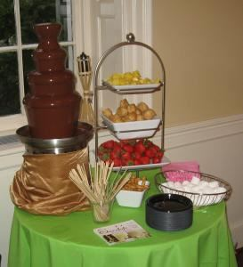 Self-Service Small Chocolate Fondue Fountain (50 to 150 guests), The Chocolate Chick, Herndon — Small Self Serve Example