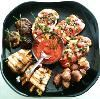 Chef Tim's Table - Milwaukee, Milwaukee — Stuffed mushrooms, heirloom tomato bruschetta, bacon wrapped meatballs and eggplant rolls.