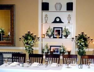 Our Wedding~ seasonal flowers and special choice flowers, Flowers by Design, Portland — Candelabras for Altar and then head table