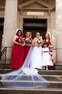 Wedding Packages (rates start at $995), Northwest Childrens Theater and School, Portland — Beautiful bride and her attendants on the 102-year-old steps of the historic Northwest Neighborhood Cultural Center.