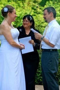 3 Diamond Package, Weddings By Sandy, Frederick — Rev Sandy with Couple
