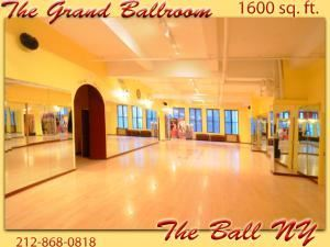The Ball NY Dance Studios, New York — The Grand Ballroom - 1600 Square feet of fully mirrored, column-free, brightly lit beautiful ballroom.